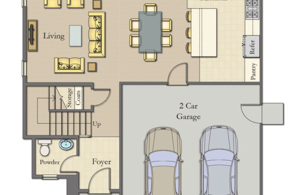 Manassero Plan A First Floor: Manassero Homes at Tahoe Park - Brand New Homes in Sacramento