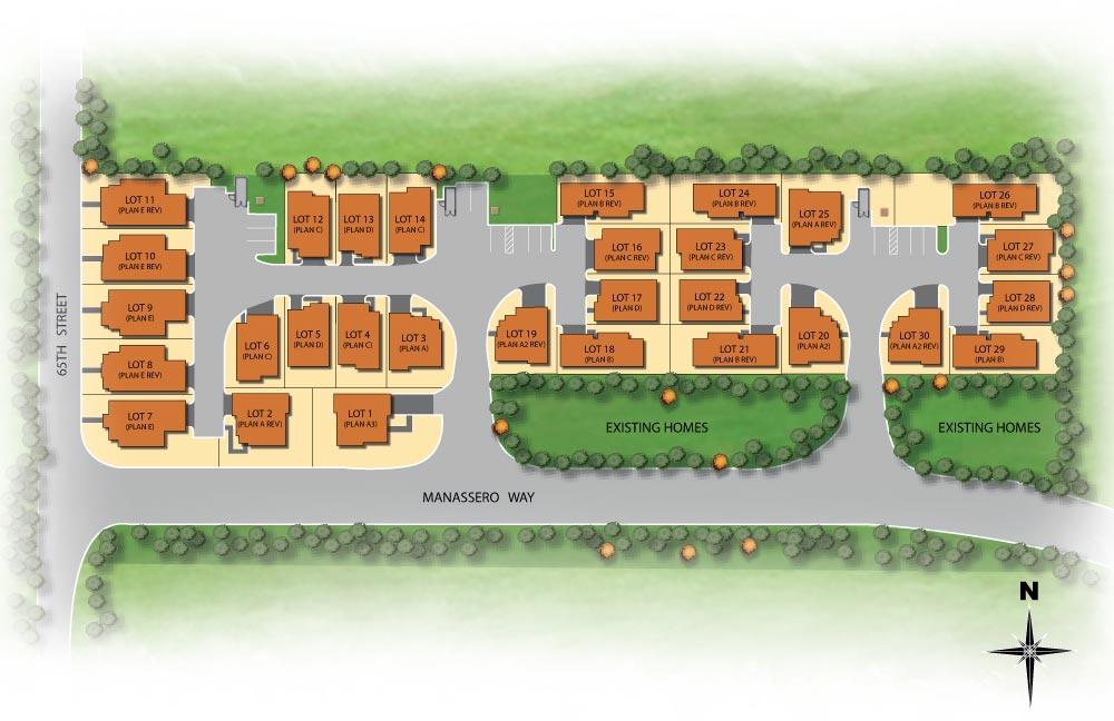 Manassero Site Map: Manassero Homes at Tahoe Park - Brand New Homes in Sacramento